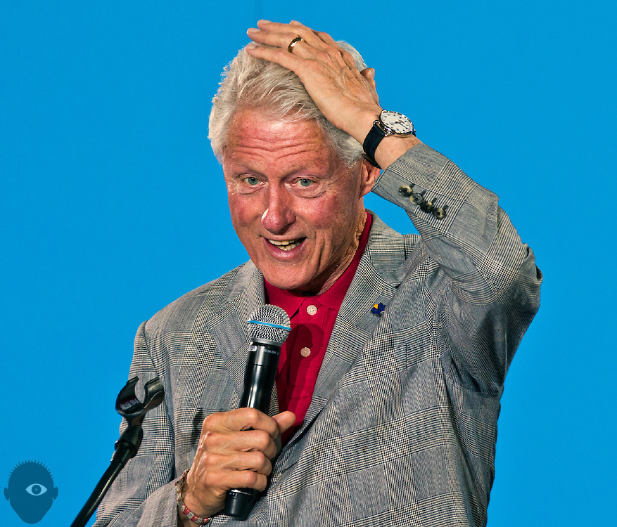 President Bill Clinton speaks on behalf of Hillary Clinton at her previously scheduled event at the College of Southern Nevada on Wednesday, Sept. 14, 2016.  L.E. Baskow