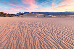 """""""Sunset at Ibex Dunes 1"""" - Colorful sunset photograph of ripples in the sand at the Ibex Sand Dunes in Death Valley, California."""