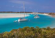 6204-1026  Sailboats at anchor at Waderick Wells, Exuma Land and Sea Park, Bahamas.