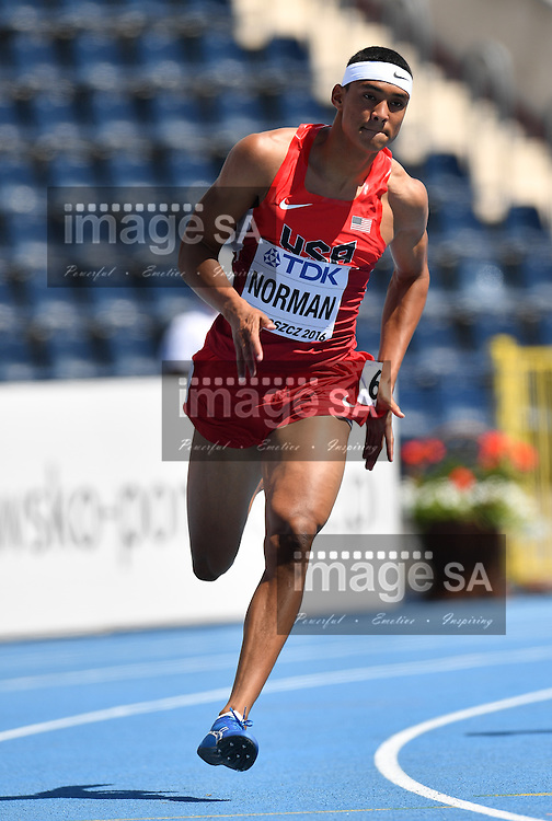 BYDGOSZCZ, POLAND - JULY 21: Michael Norman (Jnr) of the USA in the heats of the mens 200m during day 3 of the IAAF World Junior Championships at Zawisza Stadium on July 21, 2016 in Bydgoszcz, Poland. (Photo by Roger Sedres/Gallo Images)