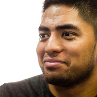 2/18/13 12:59:59 PM -- Bradenton, FL, U.S.A. -- NFL prospect and Notre Dame linebacker Manti Te'o talks with USA today as he works out at IMG Academy in Bradenton, Fla., in preparation for this year's NFL Combine.  -- ...Photo by Chip J Litherland, Freelance