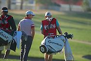 19.01.2013 Abu Dhabi, United Arab Emirates.  Steve Webster talking with caddie during the European Tour HSBC Golf championship  third round from the Abu Dhabi Golf Club.