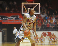 """Ole Miss guard Dundrecous Nelson (5)  dribbles at the C.M. """"Tad"""" Smith Coliseum on Friday, November 26, 2010. Ole Miss won 84-71."""
