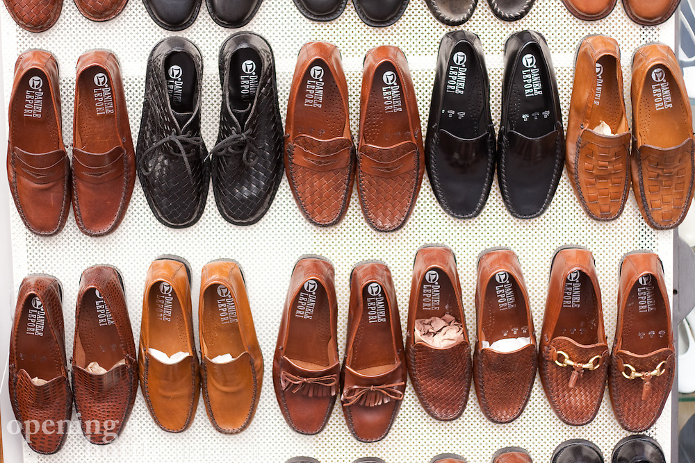s shoe display in positano italy stock image