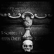 Skull on the wall in the Saint Bartholomeus Cathedral in Frankfurt, Germany