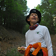 Dan Brendan, 57, from Phoenix, AZ, on a trail during the  Massanutten Mountain Trails 100 Mile run (MMT 100) May 17, 2008..Brendan finished 34th overall with a time of 30:17:39. .Brendan has a tradition of carrying his wife over the finish line in every Ultra Marathon he finishes.  ..The  MMT 100 is considered one of the toughest Ultra Marathons on the east coast. The  Massanutten Mountain Trails 100 Mile run (MMT 100) May 17, 2008.<br /> The  race is considered one of the toughest Ultra Marathons on the east coast.