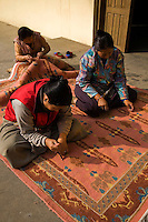 Tibetans have brought not only their carpets into Nepal, but their carpet making skills as well.  The Tibetan Refugee Camp near Patan is now the center of almost all Tibetan carpet making worldwide.