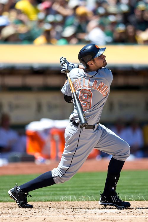 OAKLAND, CA - MAY 26:  Nick Castellanos #9 of the Detroit Tigers at bat against the Oakland Athletics during the fourth inning at O.co Coliseum on May 26, 2014 in Oakland, California. The Oakland Athletics defeated the Detroit Tigers 10-0.  (Photo by Jason O. Watson/Getty Images) *** Local Caption *** Nick Castellanos