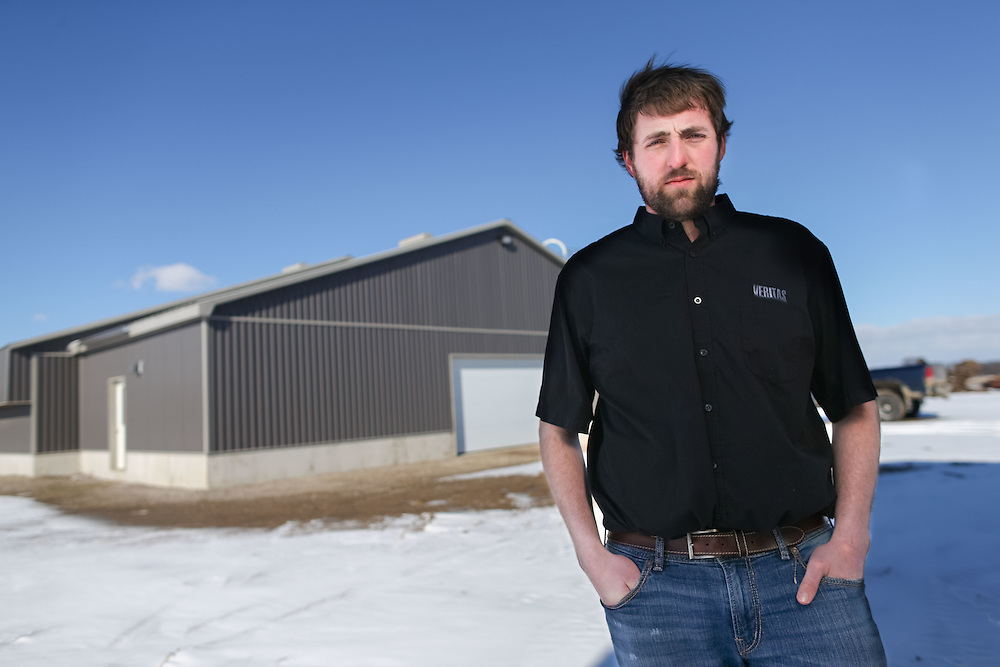 Jonathan Giret stands poses for a photo at his farm near West Lorne, Ontario, Thursday, February 2, 2017.<br /> Farmers Forum/ Geoff Robins