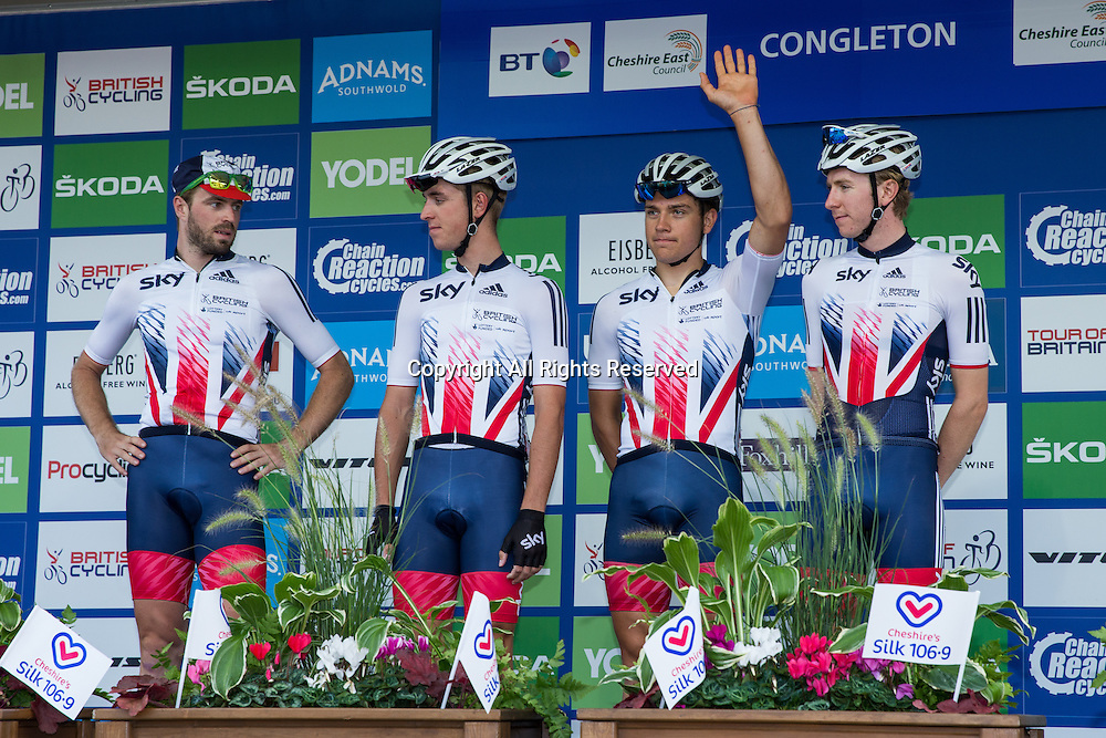 06.09.2016. Congleton Cheshire, England. Tour of Britain, Stage 3, Congleton to Knutsford.  Team Great Britain riders at the start.