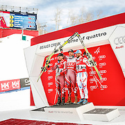 SHOT 12/4/15 12:57:21 PM - Norwegian skiers Kjetil Jansrud (far left), Aksel Lund Svindal (center) and French skier Guillermo Fayed celebrate their respective wins at the awards ceremony in the finish area at the 2015 Audi Birds of Prey Downhill at Beaver Creek Ski Resort in Beaver Creek, Co. Birds of Prey is the only men's Audi FIS Ski World Cup stop in the United States. Svindal won the event with a time of 1:42.34, Jansrud finished second with a time of 1:42.64 and Fayed third with a time of 1:43.04.(Photo by Marc Piscotty / © 2015)