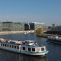 Tourists boats on the river Spree, Berlin, Germany.