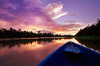The Kinabatangan River at sunset, Sabah, Malaysia