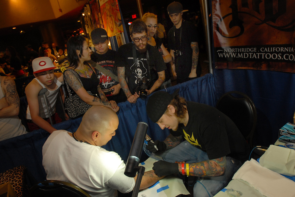 New York City Tattoo Convention 2009 at the Roseland Ballroom: Mike Devries gets a lot of admirers in his first time at the NYC convention.