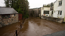 © Licensed to London News Pictures. 22/12/2012. Helston, UK. View of high water levels on the River Cober which burst its banks over night after heavy rain across the South West. The Environment Agency issued a Severe flood warning for the River Cober. Photo credit : Ashley Hugo/LNP