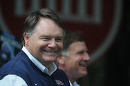 Ole Miss head coach Houston Nutt during Grove Bowl pre-game activities in the Grove at the University of Mississippi in Oxford, Miss. on Saturday, April 17, 2010.