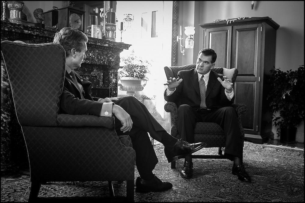 Senate Majority Leader Tom Daschle and Homeland Security Sec. Designate Tom Ridge meet in Daschle office's in the Capitol.  10/16/01..©PF BENTLEY/PFPIX.com