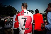 ROTTERDAM - Eerste training met Dirk Kuyt , voetbal , seizoen 2015/2016 , Sportcomplex Varkenoord , 02-07-2015 , Fans hebben de oude shirts uit de kast gehaald