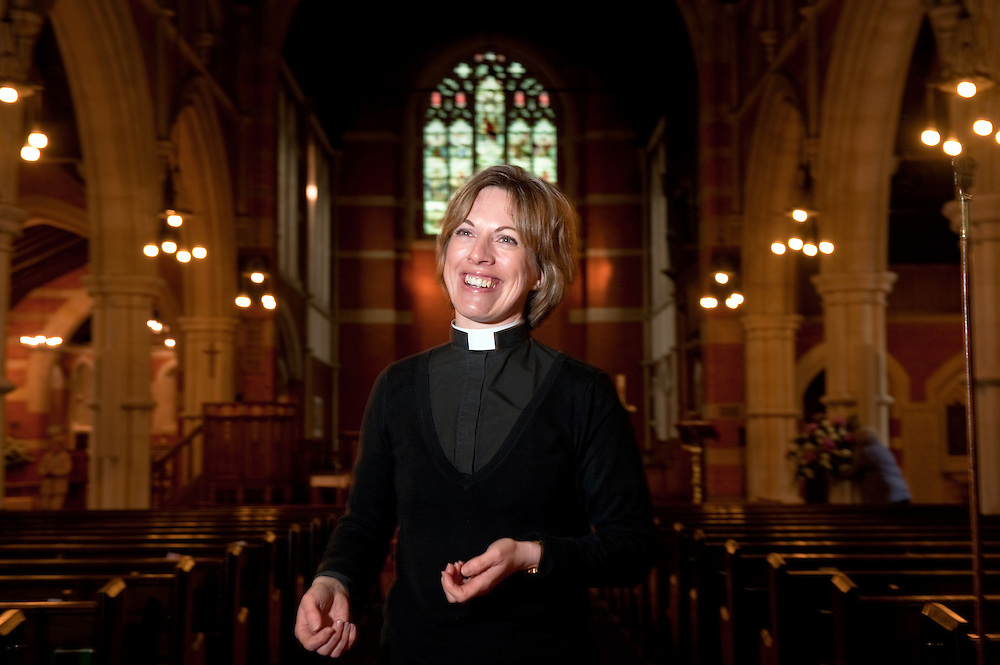 Female Priest, Kathryn Percival, at St. Mark's Church in Woodcote, Purley, South London, Britain.