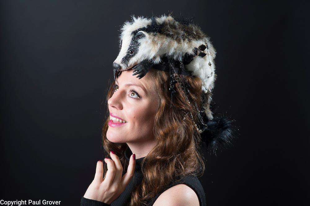 Milliner Natalie Ellner pictured in her studio wearing one of her creations Prince Badger a headpiece one 1 of 11 that she is providing to dress each set of guests with spectacular animal masks and headgear at the Animal Ball 2016 on November 22nd, the world's greatest fashion houses will collaborate to dress a bestiary of beautiful creatures from all corners of British society to celebrate and protect nature's greatest masterpieces