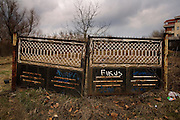 An abandoned fence on a vacant lot in Mirijevo.