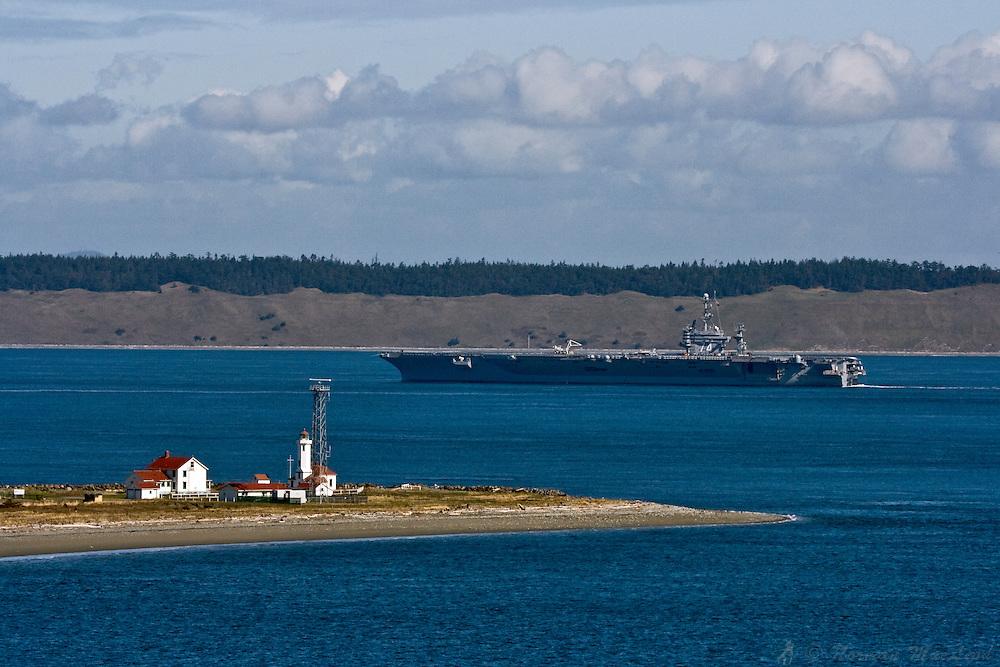 U.S. Navy carrier John C. Stennis passing Point Wilson, Fort Worden State Park, Port Townsend, Washington