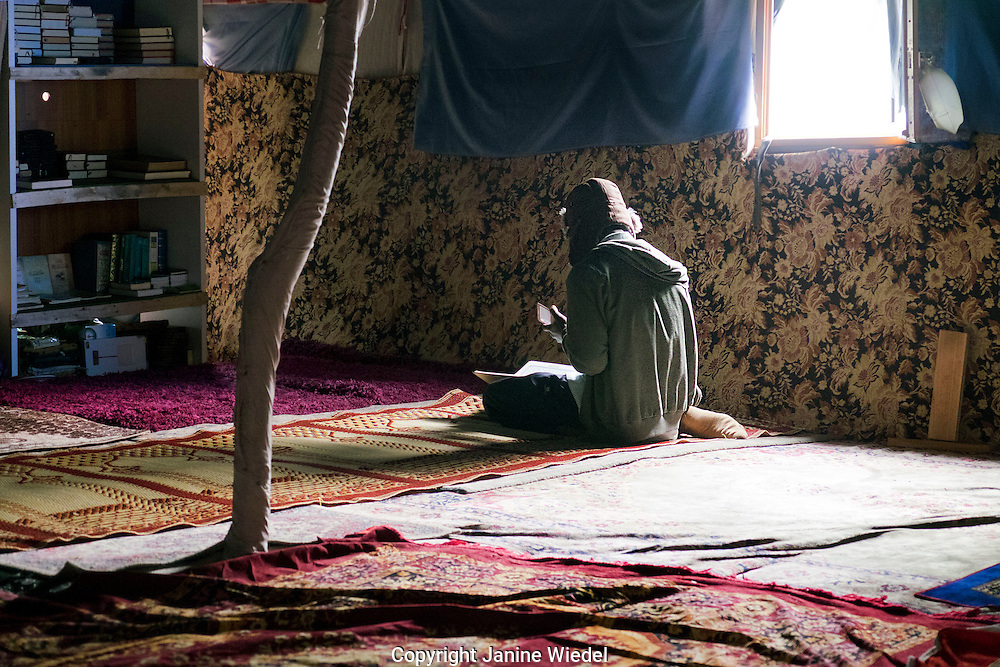 Mosque set up in The Calais Jungle Refugee and Migrant Camp in France