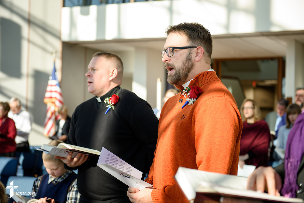 (L-R) The Rev. Peter M. Burfeind and the Rev. Adam DeGroot worship during a Service of Sending for them at the International Center chapel of The Lutheran Church–Missouri Synod on Tuesday, Jan. 12, 2016, in Kirkwood, Mo. LCMS Communications/Frank Kohn