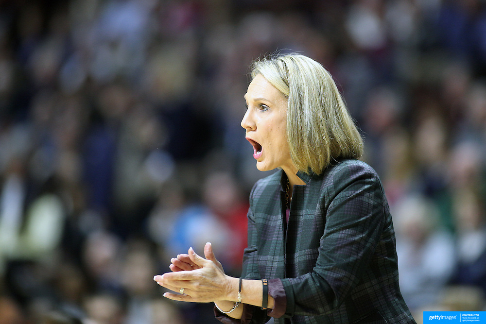 UNCASVILLE, CONNECTICUT- DECEMBER 4: Head coach Karen Aston of the Texas Longhorns during the UConn Huskies Vs Texas Longhorns, NCAA Women's Basketball game in the Jimmy V Classic on December 4th, 2016 at the Mohegan Sun Arena, Uncasville, Connecticut. (Photo by Tim Clayton/Corbis via Getty Images)