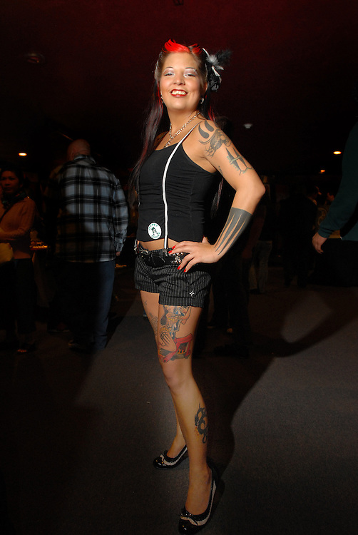 New York City Tattoo Convention 2009 at the Roseland Ballroom: Visiting Tattooist Jessica Anderson from Ink City in Augusta Georgia.
