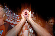 Protest outside of the 2004 Republican National Convention on the night of George W. Bush's speech, New York City, 2004.