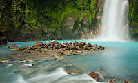beautiful waterfall on the Rio Celeste in Tenorio Volcano National Park Costa Rica