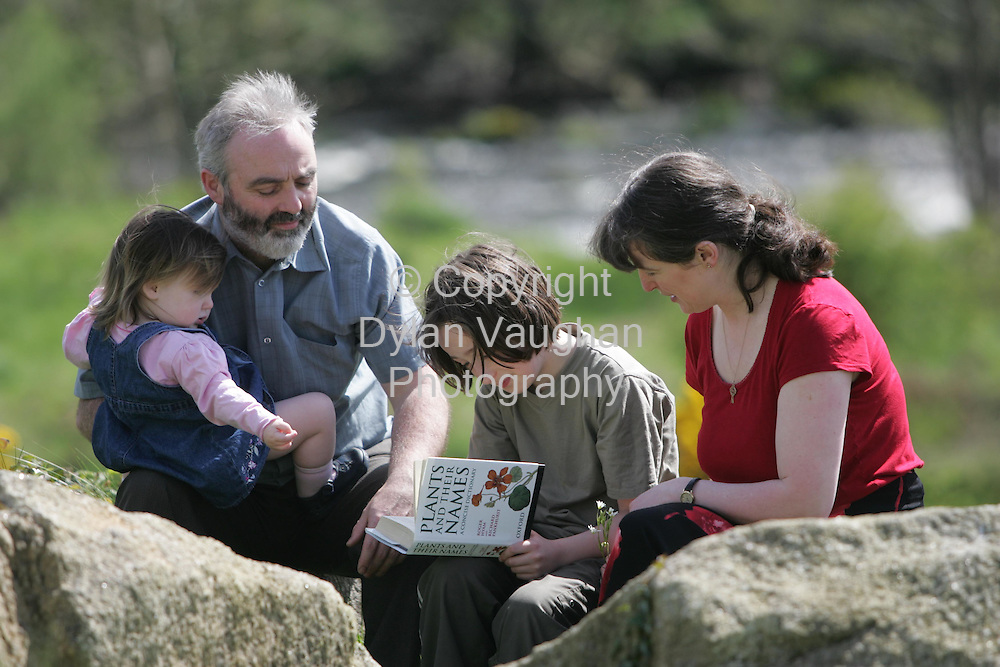 29/4/2005.Monica O Connor and Eddie O Neill pictured teaching their kids Elva (21) months and Emmet (9) at thier home near Tullow county Carlow..Picture Dylan Vaughan