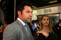 May 19, 2009; New York, NY, USA; Promoter Oscar De La Hoya arrives at the press conference announcing the upcoming fight between Floyd Mayweather Jr. and Juan Manuel Marquez.  The two will meet on July 18, 2009 at the MGM Grand Garden Arena in Las Vegas, NV.