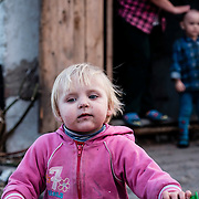 12 of April 2015 / Petrovski/ Donetsk Oblast/ Ukraine -  One of the several kids living in the bunker intrigued by my presence.