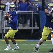Delaware quarterback Blake Rankin (7) looks for the open man during a week nine Colonial Athletic Association Conference game between the Delaware Blue Hens and the Albany Great Danes Saturday, Nov. 07, 2015 at Tubby Raymond Field at Delaware Stadium in Newark, DE.