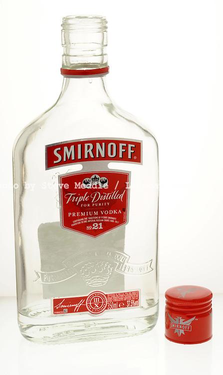 Opened and Empty Bottle of Smirnoff Vodka