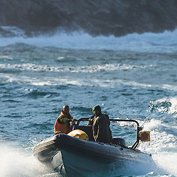 Marine Protected Area staff on a boat patrol, Tsitsikamma Marine Protected Area, Garden Route National Park, Eastern Cape, South Africa,