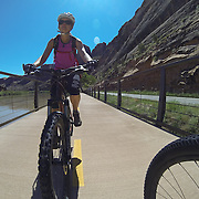 SHOT 5/9/16 11:16:50 AM - GoPro footage and stills of the Mag 7 trail, Fisher Towers and the bike trail along Highway 128 in Moab. Moab is a city in Grand County, in eastern Utah, in the western United States. Moab attracts a large number of tourists every year, mostly visitors to the nearby Arches and Canyonlands National Parks. The town is a popular base for mountain bikers and motorized offload enthusiasts who ride the extensive network of trails in the area. (Photo by Marc Piscotty / © 2016)