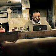 Journalist Mayabhushan Nagvenkar at Cafe Prakash, a regular hang-out for journalists an the Goan capital of Panaji (Panjim).