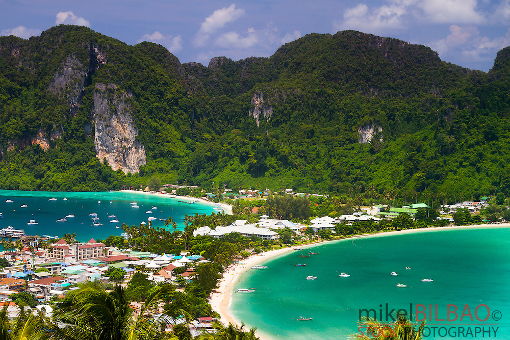 Phi Phi Don island from a viewpoint. Krabi province, Andaman Sea, Thailand.