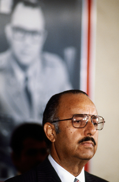 Nicaraguan President Anastasio &quot;Tachito&quot; Somoza Debayle, stands in front of a portrait of his father - former Nicaraguan President  Anastasio Somoza Garc&iacute;a who was assassinated in 1956. Somoza - the younger - was himself assassinated in<br /> Asunci&oacute;n, Paraguay on September 17, 1980 after resigning as president and fleeing to first the USA and then Paraguay.