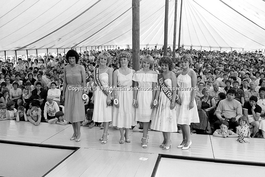 Coal Queen competition finalists. 1983 Yorkshire Miner's Gala. Barnsley