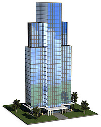 modern hi-rise corporate office building with glass exterior over a white background