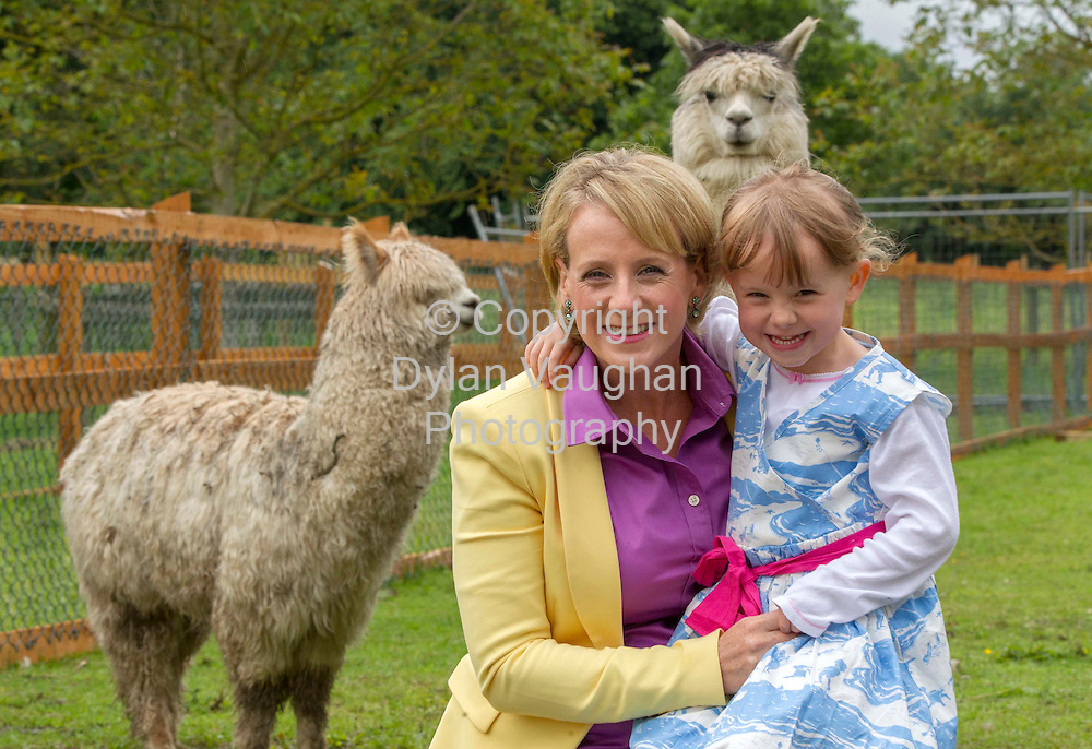 Repro Free.17/7/2012.PIC CAPTION:        . .Celebrity Mum of the Year Sybil Mulcahy kids around at the Newpark Hotel's new mini farm. .TV3 presenter and Celebrity Mum of the Year Sybil Mulcahy joined the Newpark Hotel, Kilkenny for some animal antics yesterday with her four-year-old daughter Genevieve Prendeville at the launch of the hotel's new mini farm.. .Sybil, who recently gave birth to her third child Michael, was enjoying quality mother-daughter time as the pair were amazed by alpacas, petted pot-bellied pigs and fussed over the new kid goat, Meannán.. .General Manager of the four star Newpark Hotel, Mark Dunne, said: ?It was great to have Sybil and Genevieve here at The Newpark to experience our brand new Mini Wildlife Farm and all of the excellent facilities our hotel can offer families with young children this summer...?Our farm is already proving to be a great success with our younger guests and our latest addition of five baby rabbits are a huge hit.?. . .Newpark Hotel, Kilkenny.Tel: 056 7760 500.Web: www.flynnhotels.com. .Picture Dylan Vaughan.