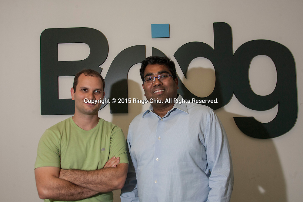 Amit Jain, right, founder of Bridg, and Jared Cugno, CTO. (Photo by Ringo Chiu/PHOTOFORMULA.com)