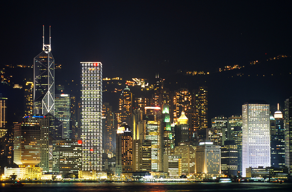 Hong Kong skyline and Kowloon bay at night, Kowloon, Hong Kong, China.