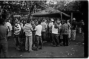 Leon, Nicaragua.<br /> <br /> A 15 minute ride outside of the Northern tourist town of Leon, a &lsquo;finca&rsquo; hosts nightly &lsquo;pelea de gallos&rsquo; - cockfights that draw up to a hundred or so local Nica&rsquo;s and a mix of vagabonds and backpackers.<br /> <br /> Farmers, breeders, bookmakers and gamblers gather around &lsquo;la gallera&rsquo;, a circular ring in fading light. Bets are placed, birds are weighed and matched for size and weight before having a &lsquo;gaff&rsquo; or small steel spur attached to rear of their claw.<br /> <br /> For 15 minutes or so, the bird handlers encourage the birds lunge, peck and chase each other into submission or death. Spectators encircling the ring add vociferous vocal encouragement.<br /> <br /> Feathers get ruffled and litter the sandy arena; eye&rsquo;s get pecked and throats gouged. More often than not, just before a bird is fatally killed the fight may be stopped by its owner in the hope of saving the life of his prized bird. <br /> <br /> Frantically they will even perform mouth to beak if needed, removing blood from the beaks and throats of injured roosters<br /> <br /> The birds are well cared for and treasured by both the owners and his family. It&rsquo;s usually their only source of income. Upon death the rooster is celebrated and eaten by the family. The gladiatorial victor may be sold for profit and breeding or retained to fight another day.