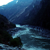 """DEQIN COUNTY, DECEMBER 17, 2000: the Mekong river in Deqin county, Yunnan province , December 17, 2000..The area is believed to be part of the areas on which James Hilton's famous novel """" lost Horizon""""- a description of Shangri-La- is modelled.. ."""