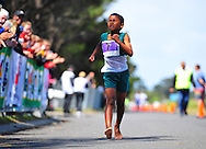 CAPE TOWN, SOUTH AFRICA - OCTOBER 10: Lenardo Williams (9) of Heidedal Primary in SWD wins the 1km race during the South African Race Walking Championship at Youngsfield Military Base on October 10, 2015 in Cape Town, South Africa. (Photo by Roger Sedres/ImageSA)